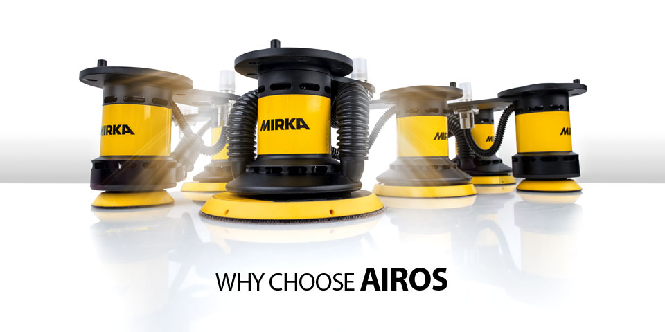 There are 6 different different sanding heads of Mirka AIROS, with vaccum or without.