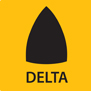 The Mirka DEOS Delta has the shape of a delta, triangle.