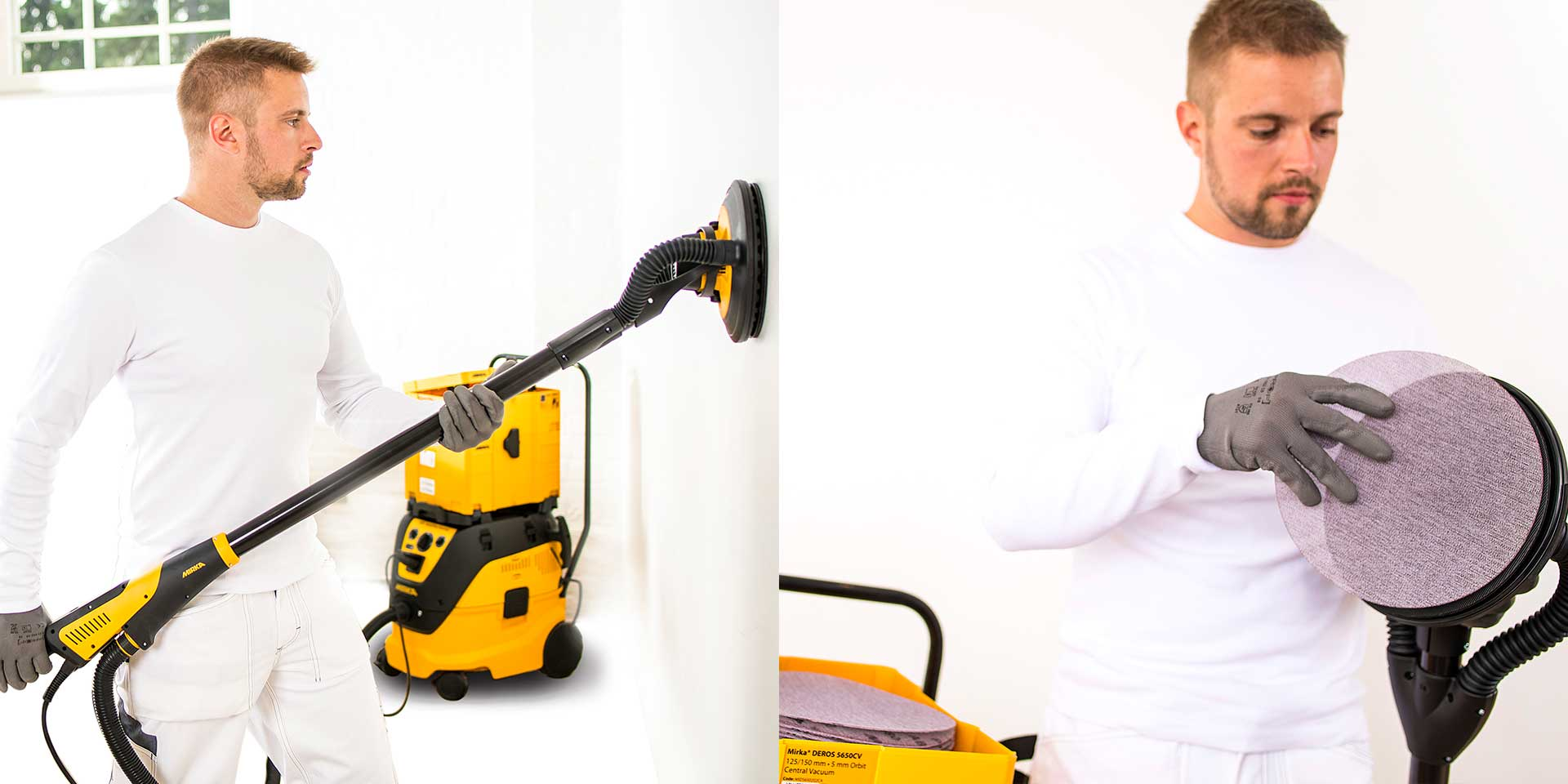 Mirka Leros най- леката безчеткова машина за шлайфане на стени и тавани