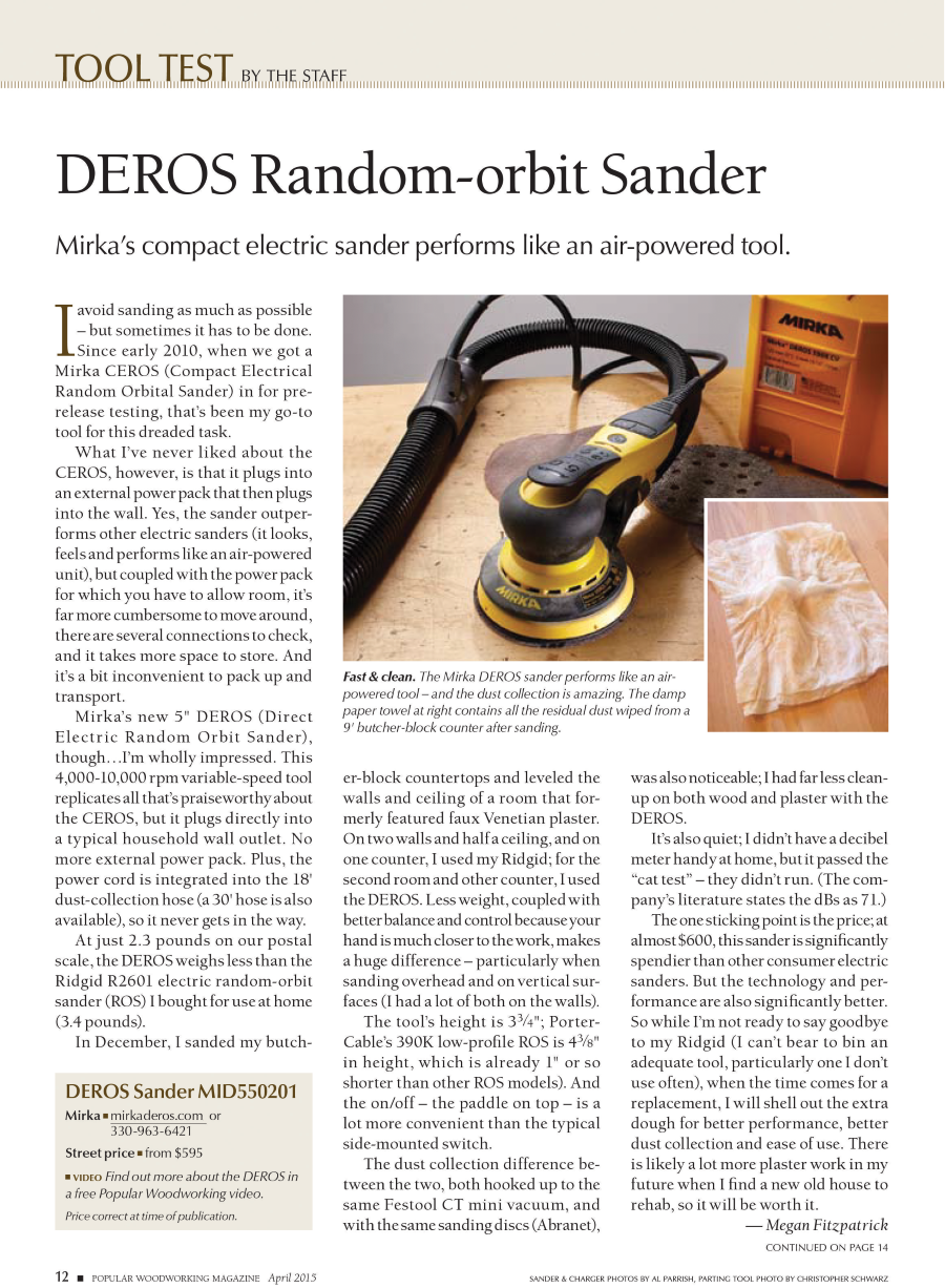 Mirka® DEROS Review by Popular Woodworking Magazine